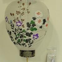 木製・絹張(ろうそく電池灯付き)(品番:つり7)